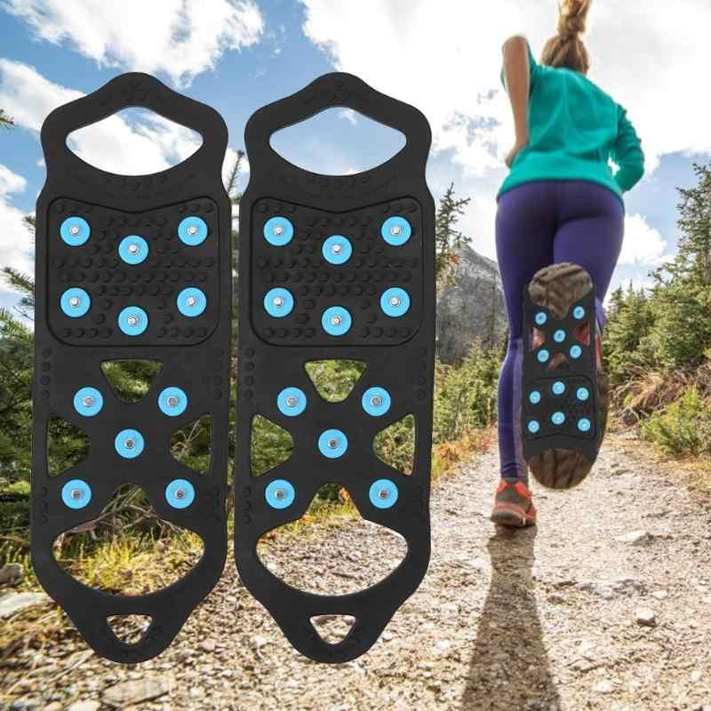 11 Kancing Crampon Paku Anti Slip Kaki Berjalan Luar Ruangan Lebih dari Sepatu Boot Es Salju Grip
