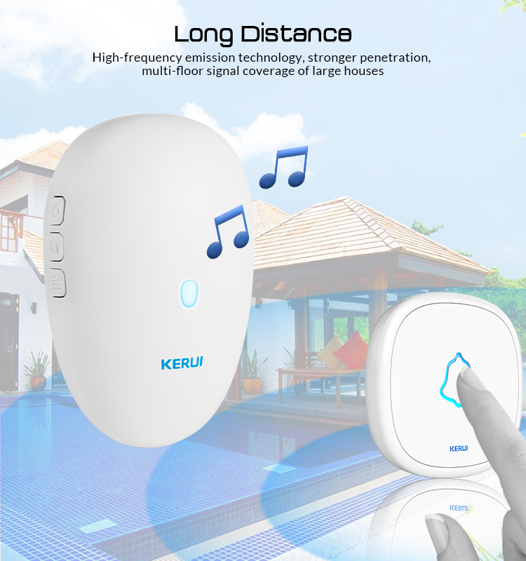 KERUI M521 F52 Home Security Welcome Wireless Doorbell Smart Doorbell Alarm Chimes 57 Songs Waterproof Touch Button With Battery