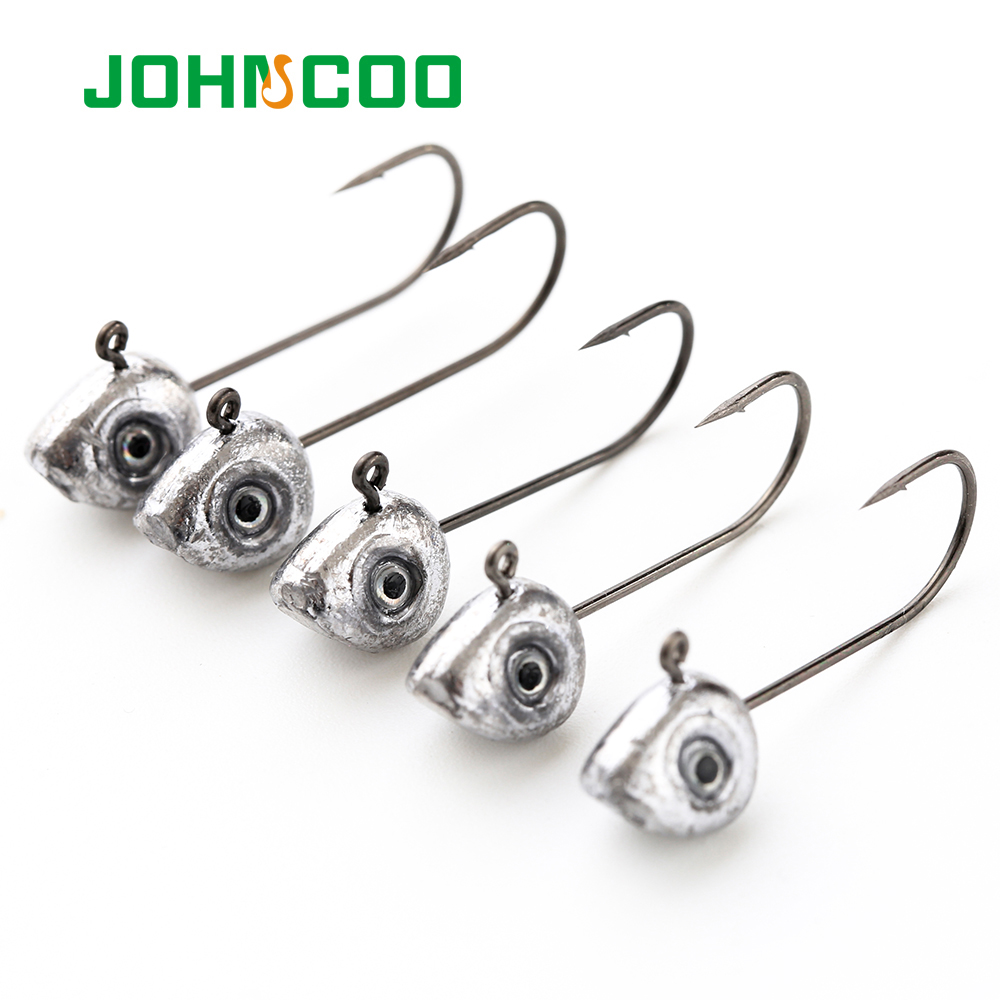 JOHNCOO 10pcs Mini Jig Head Hook 0.5g 1g 2g 3g 4g 5g Jigging Lead Hook Rockfish Game Soft Bait Hook Carbon Steel Treble Hooks