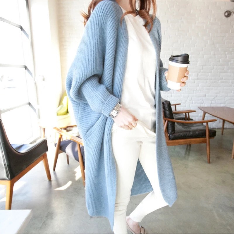 Autumn Winter Long Sleeve Cardigans Women Tops Loose Knitted Open Stitch Sweater Ladies Solid Casual Jumper Pull Femme