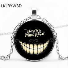 LKLRYWBD / New Alice In Wonderland Round Glass Necklace Cheshire Cat Pendant Jewelry