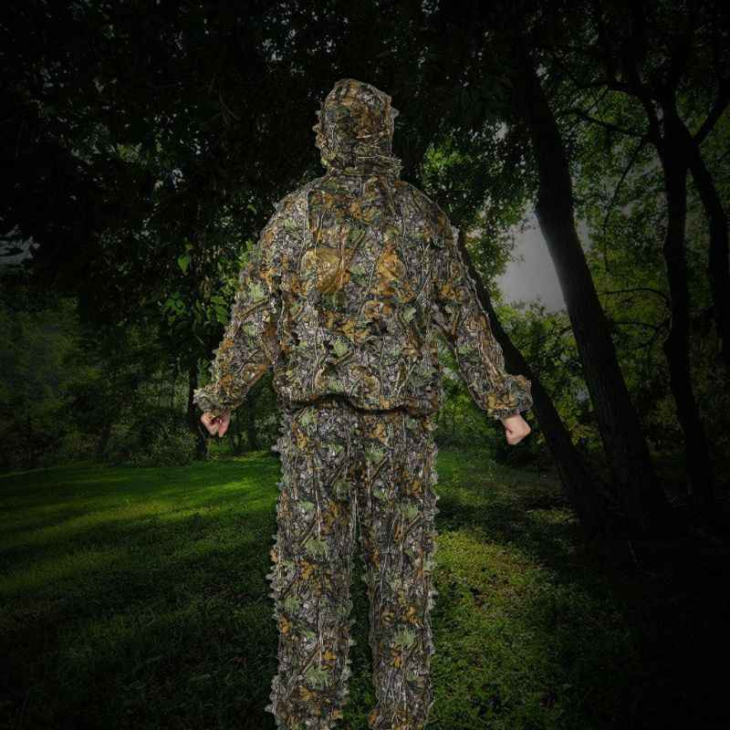 1 Set di Vestiti Da Caccia 3D Foglia Pantaloni Cappotto Camuffamento Giungla All'aperto Orologio Uccello