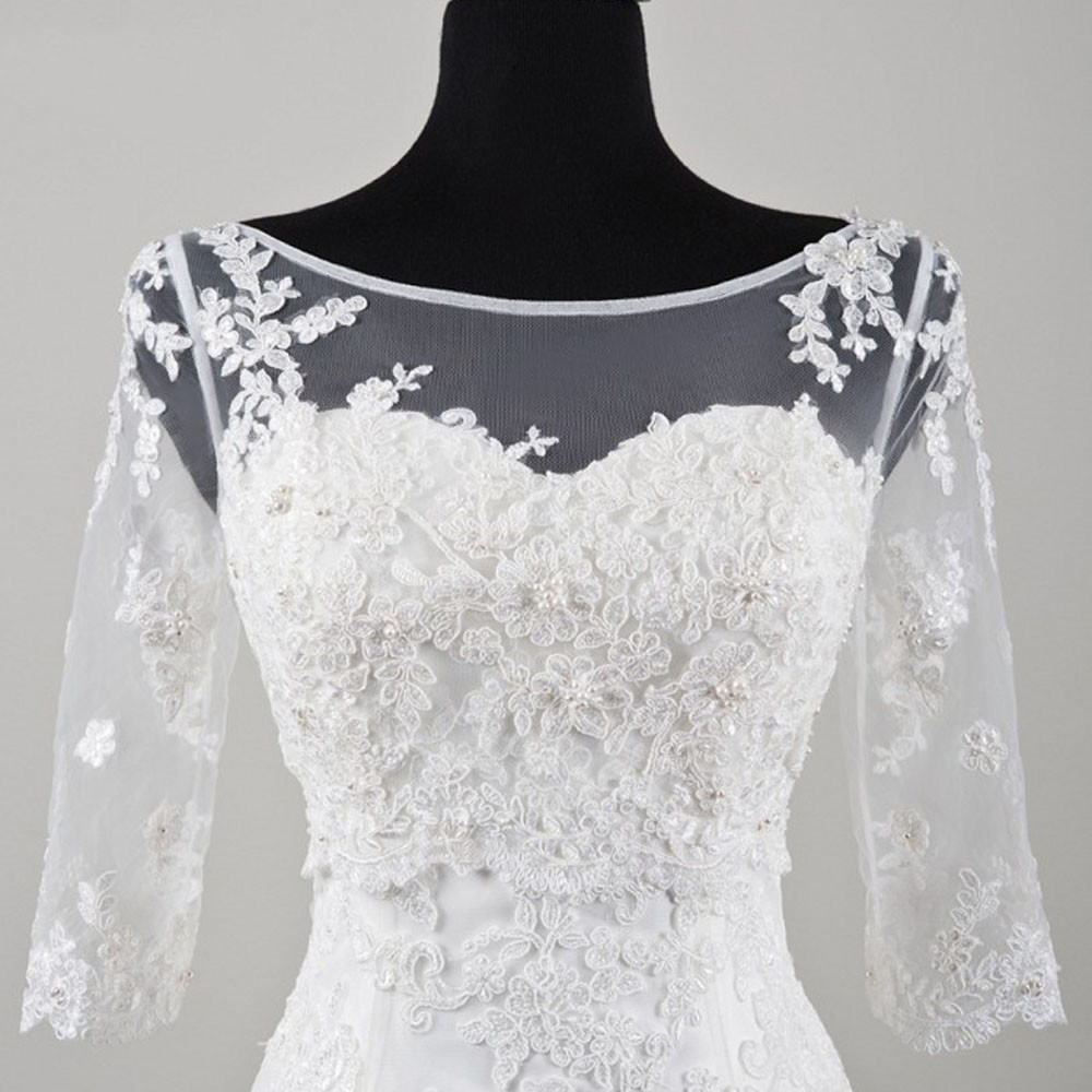 Summer 3/4 Sleeve Lace Wedding Jacket Bridal Shawls Beaded Bolero V Back Elegant Wedding Accessories Sheer