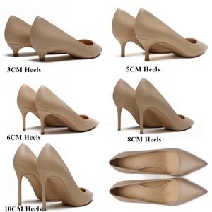 Image 5 - New Spring Party Wedding donna tacco alto vera pelle punta a punta maturo Office Lady scarpe eleganti donna pompe Big Size A003