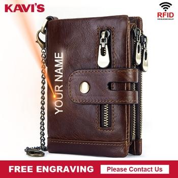 KAVIS Free Engraving Rfid Genuine Cow Leather Wallet Men Coin Purse Male Cuzdan PORTFOLIO MAN Portomonee Small Walet Pocket 1