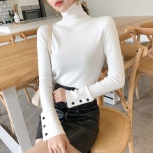 2019 New Autumn Women T Shirt Simple Solid Turtleneck Sexy Basic Casual Knitted Tops Long Sleeve Slim Pullover T-Shirt