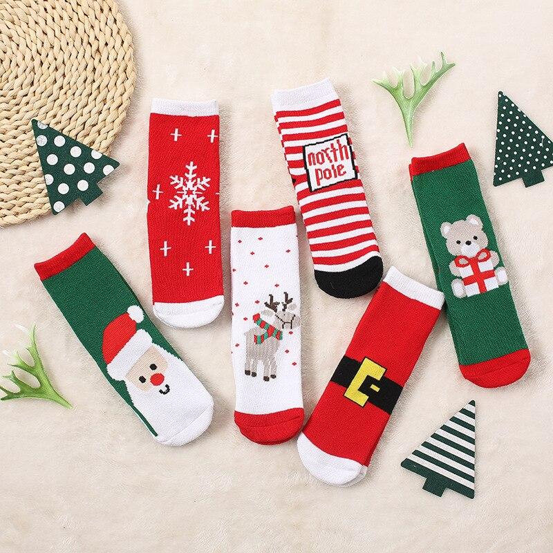 1 Pair Children Socks Cotton Spring Winter Autumn Baby Girls Boys Socks Striped Terry Snowflake Elk Santa Claus Christmas