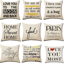 Hot Selling English Printed Letter Flax Pillow Cover Home Sofa Back Cushion cover цена 2017