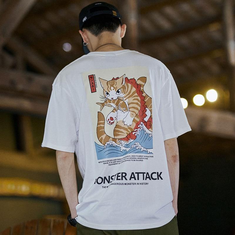 Image 5 - 2019 Men Hip Hop T Shirt Streetwear Monster Cat T Shirts Harajuku Japan Style Funny Tshirt Summer Short Sleeve Cotton Tops TeesT-Shirts   -