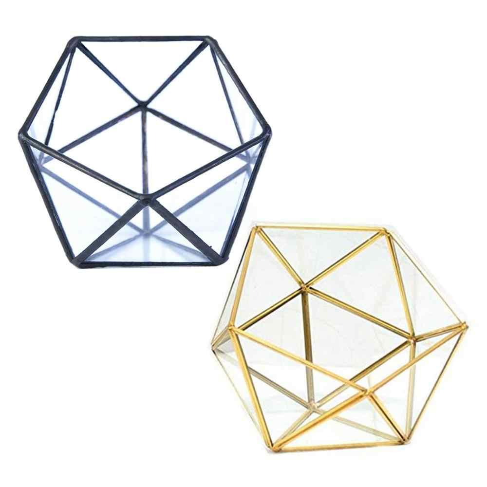 Caixa de armazenamento de vidro do terrário suporte da joia, terrário geométrico de vidro mesa suculenta planta caixa de plantador caso do suporte (nenhuma planta)