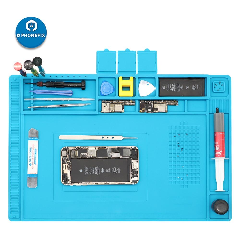 PHONEFIX 45x30CM PCB BGA Heat Insulation Silicone Soldering Pad Repair Maintenance Platform Desk Mat for Cell Phone Repair Tools