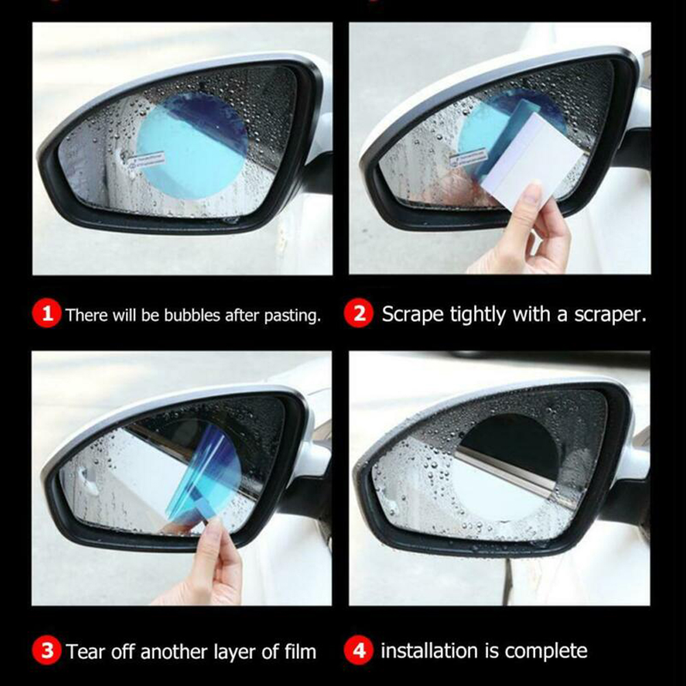 4* Car Rearview Mirror Glass Film Waterproof Anti-Fog RainProof Window Membrane