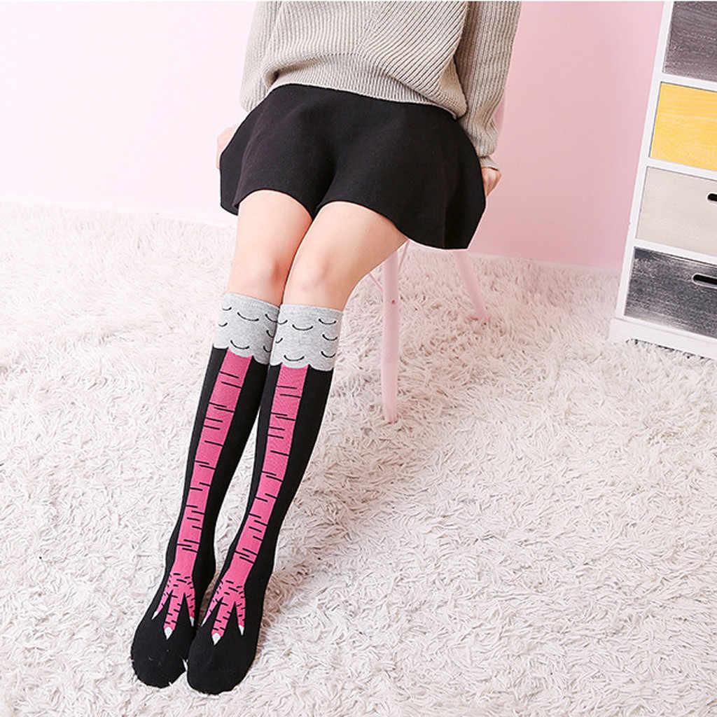 2019 女性の靴下ロング鶏フット靴下/膝靴下 3D 鶏靴下パフォーマンスストッキング medias デ mujer чулки женские