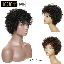 Morichy Bouncy Curly Short Cut Full Wigs 8inch Malaysian NON-Remy Real Human Hair DIY Mix Medium Brown Older Vintage styles Wigs(China)