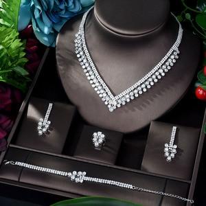 Image 1 - HIBRIDE Shinning Pave CZ Dubai Jewelry Sets 2020 Women Wedding Zirconia Leaf Design Copper 4pcs Jewelry Set collier mariag N 896