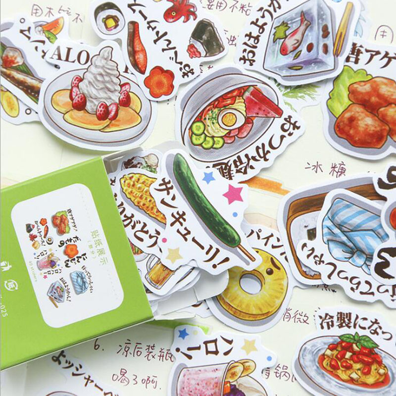 Kawaii Everyday Small Things Cute Little Girl Cartoon Food Box Decoration Scrapbook Stationery Japanese Diary Stickers Girl 40pc(China)