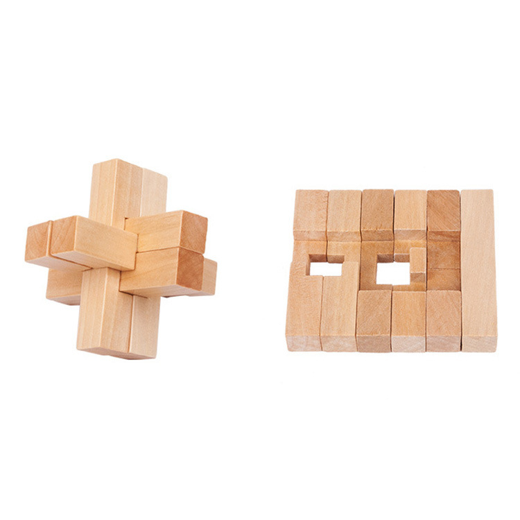 Wholesale Casual Adult Wooden Educational Toys Wood Qualities Luban Lock Cross Six-Way Unlocked Burr Puzzle Set