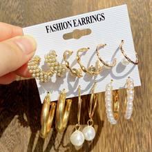 EN – ensemble de boucles d'oreilles EN métal doré pour femmes, nouvelle collection 2021 de boucles d'oreilles tendance avec perles géométriques et cercles