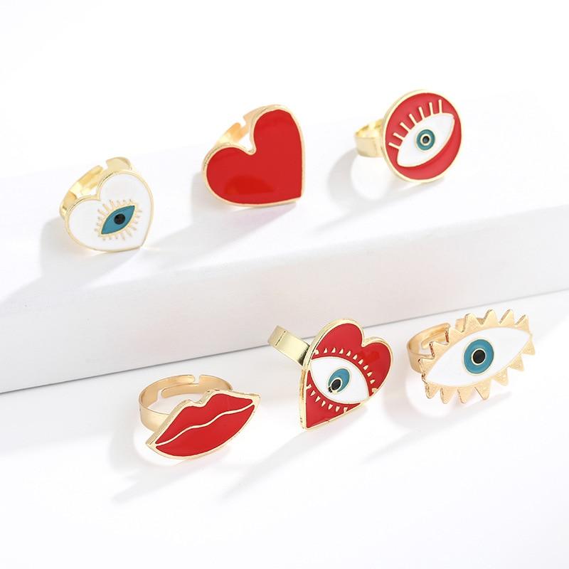 Новинка 2019, регулируемые золотые и красные кольца в форме сердца от сглаза для женщин, женские винтажные популярные милые золотые кольца от ...