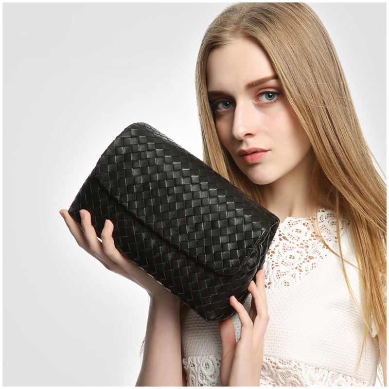 Women's Shoulder Bag Leather Casual-Style Luxury Brand Design Bag Fashion Simple Chain Small Bag 100% Sheepskin Woven 2020 New