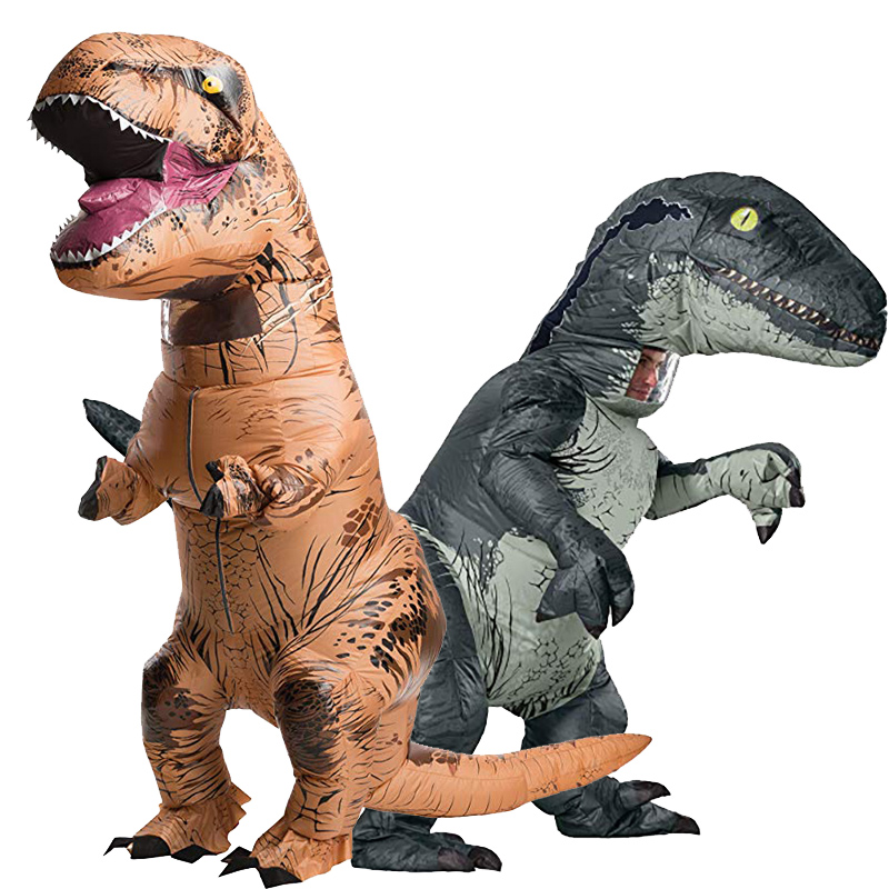 Inflatable Costume Adult Inflatable Velociraptor Costume Halloween Dinosaur T REX Costumes For Men Fancy Dress Cosplay Dinosaur