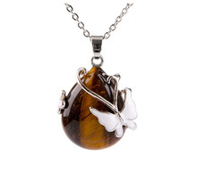 FYJS Unique Silver Plated Water Drop Natural Tiger Eye Stone Pendant Butterfly Necklace Link Chain Jewelry