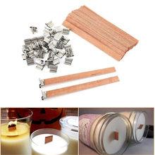 100 Uds de madera mecha de vela con Sustentador Tab de cera de soja mechas para velas Core Diy lámparas de aceite, fabricación de velas a suministro de Parffin cera
