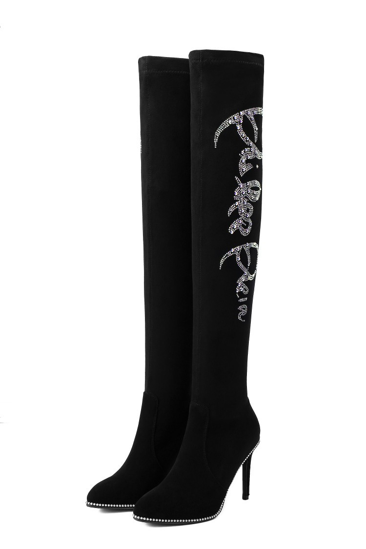 Сапоги до колена; новые кожаные сапоги на высоком каблуке; матовые женские сапоги - 5