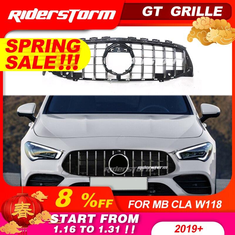 Nueva llegada para CLA W118 GT parrilla frontal GTR para Mercedes CLA clase W118 nueva parrilla abs sin emblema