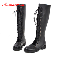 ANMAIRON Flat PU Knee-High Boots Women Square Heel Round Toe Lace-Up Short Plush Solid Rubber Long Cross-tied Shoes