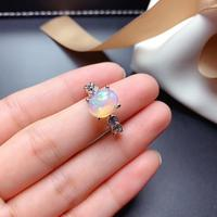 Luxurious grace leaves sprouting Natural Multicolor opal Ring Natural gemstone ring S925 silver women party gift fine Jewelry