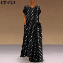 VONDA-Vestido largo informal de verano con estampado de lunares, traje largo con bolsillos para mujer, cuello redondo, 2021