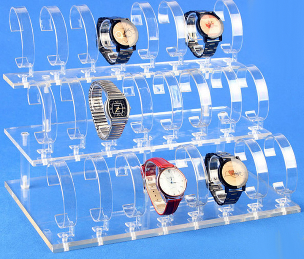Novelty Watches Stand Holder Removable 24 Slots Acrylic Watch Jewelry Display Rack Watch Frame Watch Holder