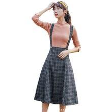 Женская клетчатая юбка модные шерстяные юбки на бретельках женские