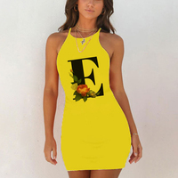Sexy Nightwear Sleepwear Nightgown Night Shirts Summer Women 26 English Alphabet Print Pack Hip Nightie Yellow Night Dress 5