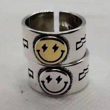 Coreano de moda feliz cara sonriente relámpago oro plata anillo femenino Retro Vintage gótico anillos que se abren ajustables para las mujeres