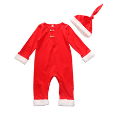 0-24 month newborn christmas baby clothes santa boys and girls winter romper with hat xmas jumpsuit