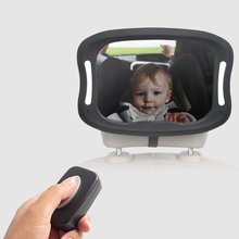 Rearview-Mirror Car-Seat Baby 360-Degree Led-Lights Acrylic ABS Remote Rotation Viewing