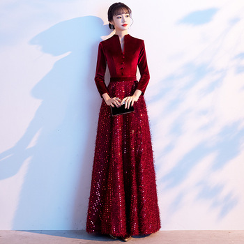 Evening Dresses velour V-neck Sequins Evening Dress Elegant Long Sleeve A Line Formal Gowns For Women Robe De Soiree