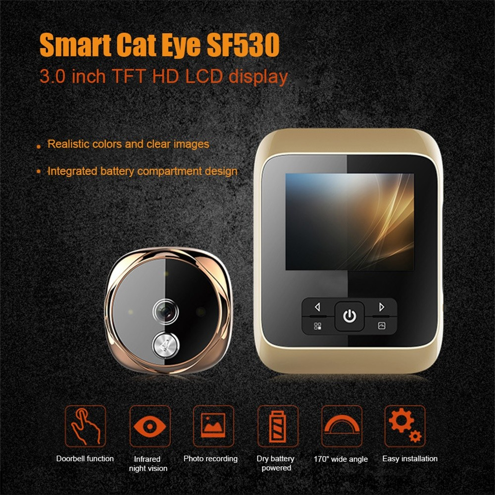 530 3-Inch Color <font><b>Screen</b></font> Smart <font><b>Video</b></font> Doorbell Wireless Visual <font><b>Door</b></font> <font><b>Bell</b></font> <font><b>With</b></font> Night Vision Function For Home image