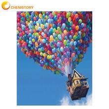 CHENISTORY hava balonu DIY boyama By Numbers manzara boyama boyama By Numbers kiti akrilik boya benzersiz ev duvar dekoru