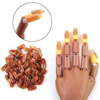 Practice Hand with 100pcs Acrylic Nail Tips Adjustable Manicure Training Hand Flexible Holder Nail Supplies For Professionals 1