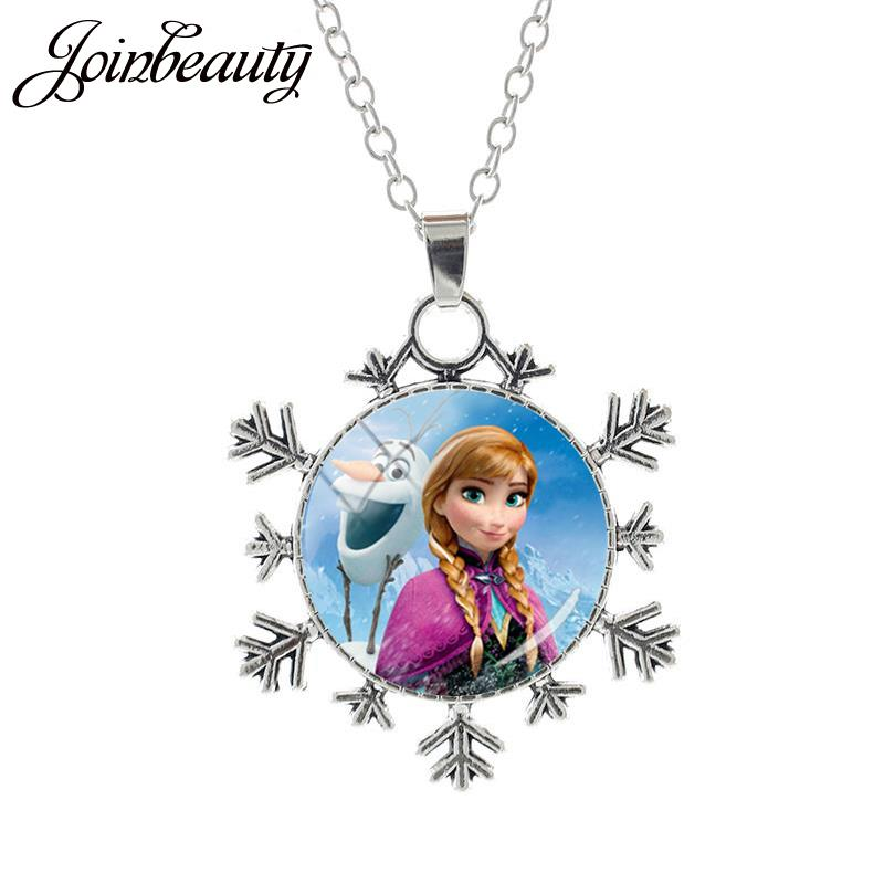 JOINBEAUTY Принцесса Эльза Анна снег кулон в виде королевы Ожерелье Дамы Снежинка Длинная цепочка Ювелирные изделия стекло кабошон для девочек SQ03 - Окраска металла: SQ04-25