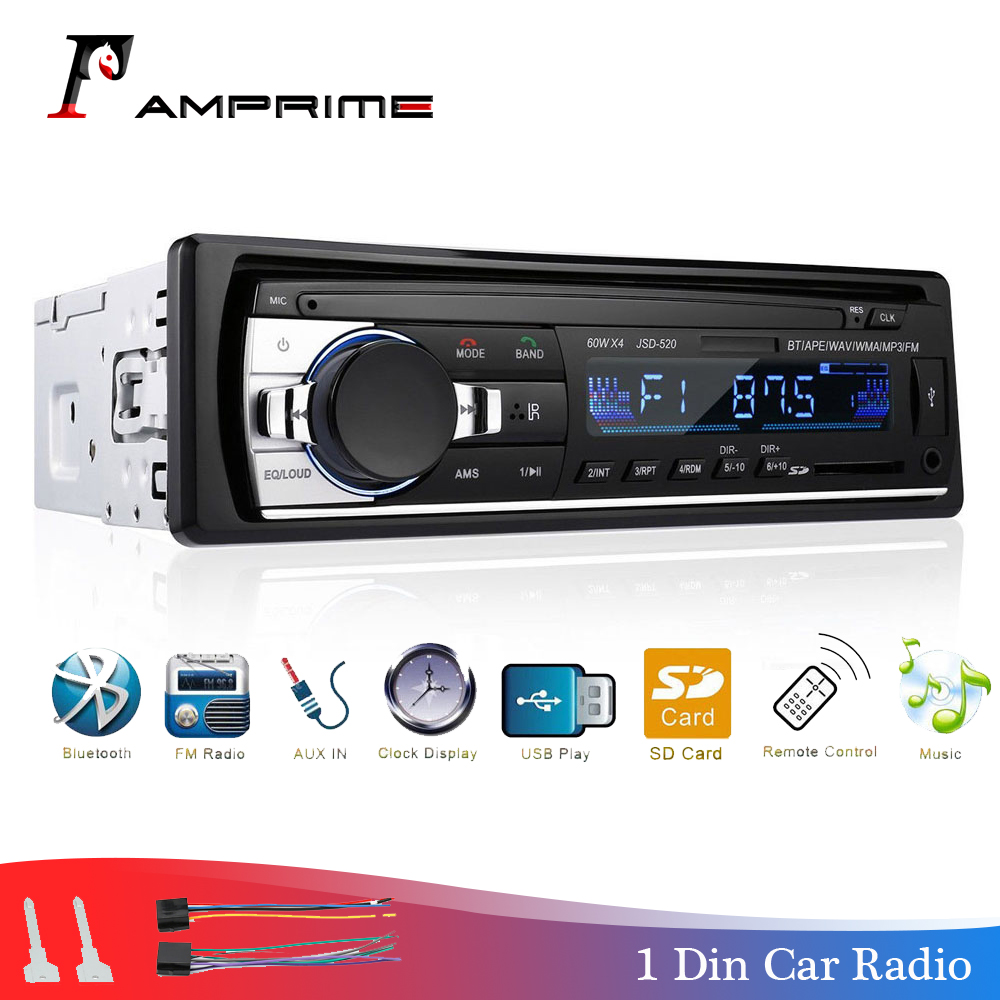 AMPrime Car Radio Bluetooth FM Stero Radio USB SD AUX Audio Player Auto Electronics Subwoofer In-Dash 1 DIN Autoradio ISO 12Pin image
