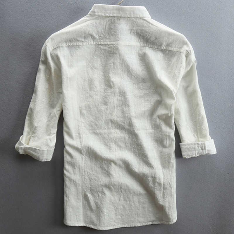 2020 ilkbahar ve yaz rahat erkek keten gömlek orta kol gevşek düz pamuklu elbise gömlek erkekler için Vintage Streetwear 5XL A738