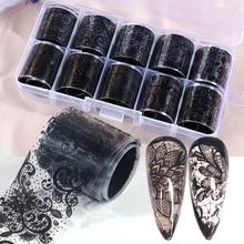 10pcs Lace Transfer Foil Black White Nail Stickers Hollow Flower Sliders Transparent Decals Wraps Nail Art Decoration Set BE1017