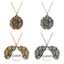 Openable Letter Custom Sunflower Pendant Necklace Stainless Steel Circle Engrave Neckalce Romantic Riddle Gifts For Women(China)