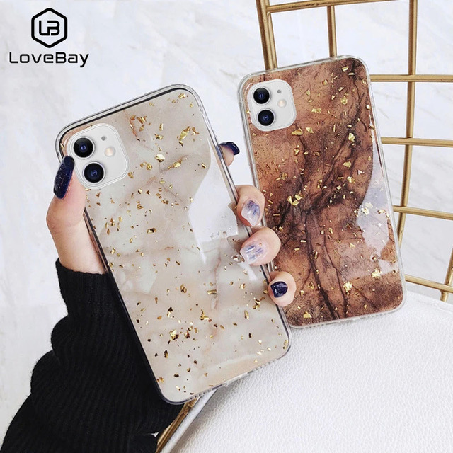 Lovebay Phone Case For iPhone 11 6 6s 7 8 Plus X XR XS Max Luxury Bling Gold Foil Marble Glitter Soft TPU For iPhone 11 Pro Max 1