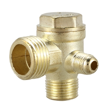 2/5 3/8PT 1/2PT Male Thread 3 Way Metal Air Compressor Check Valve Gold Tone