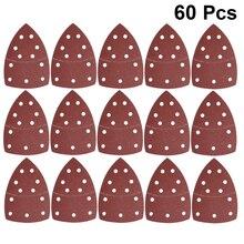 60 шт., клейкая наждачная бумага с 11 отверстиями, треугольная шлифовальная бумага, крюк, шлифовальный диск для полировки (40/60/80/120/180/240 зернисто...
